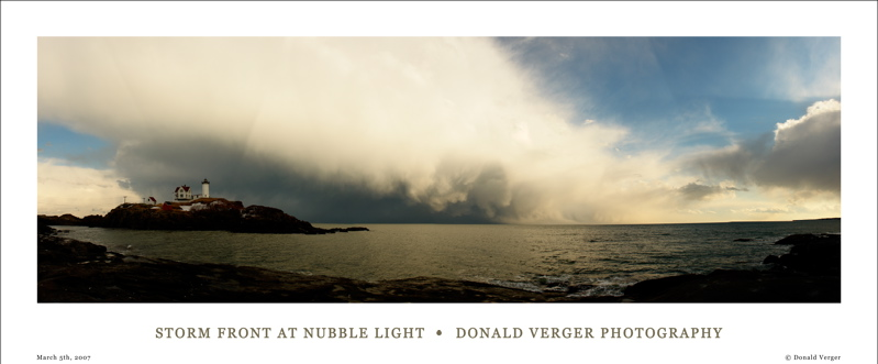 346Nubble Storm - text.jpg ... UNFINISHED PANORAMA of wild snow squalls, frighteing winds, and wild sun