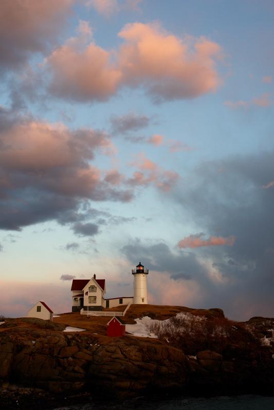 91DSC03628_2.jpg STORM/SNOW SQUALL RETREATS toward sunset an Nubble lighthouse maine
