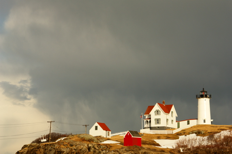 132DSC03401.jpg MAGIC LIGHT IN A WILD VIOLENT SNOW SQUALL at nubble light lighthouse maine