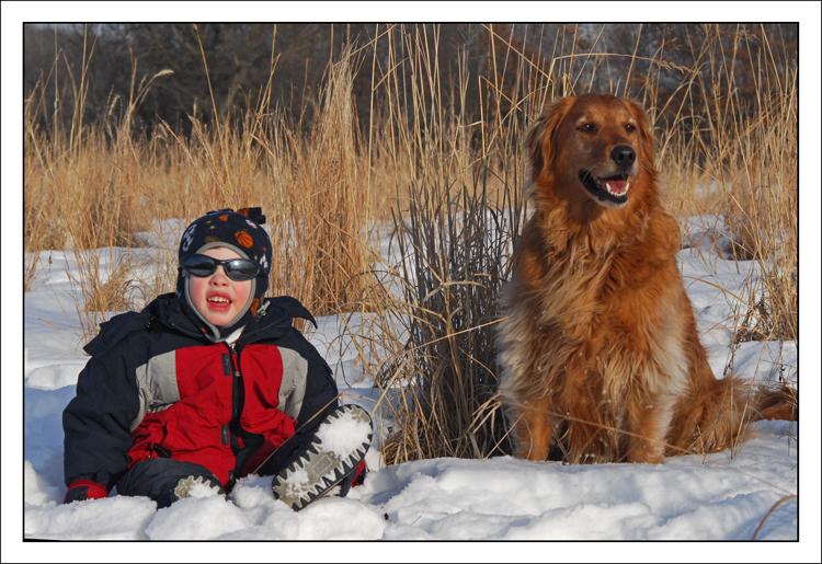 Ryan & Bailey snowy scene