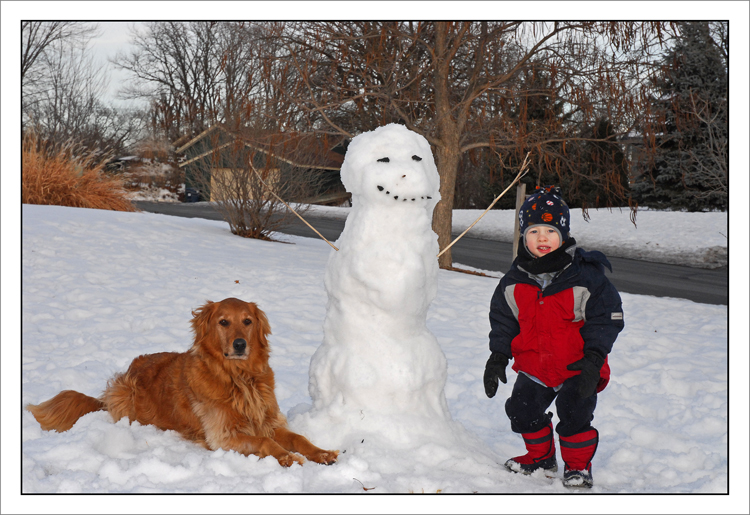 Ryan & Bailey w/snowman