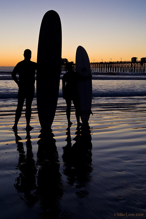 Surfers silhouette