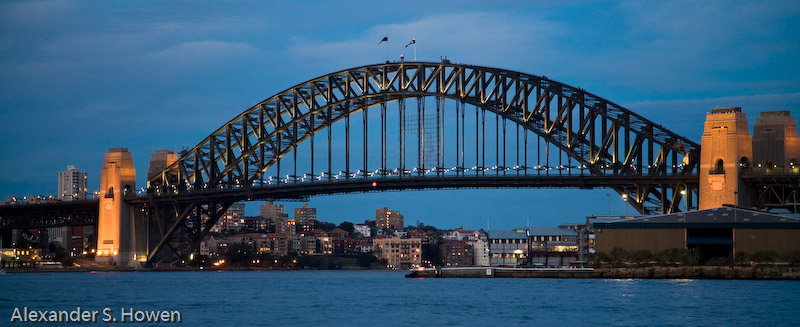 Western side of the Harbour Bridge at dusk