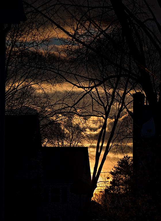 Sunset across the street.