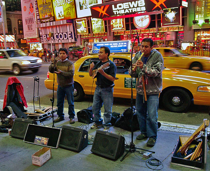 Busking in Times square