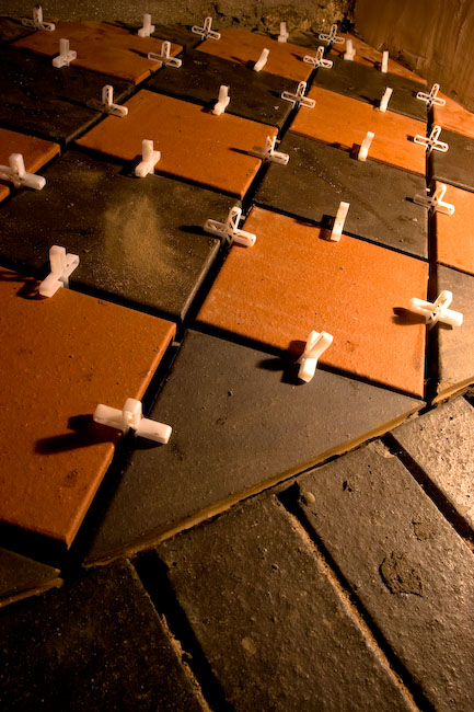 laying hearth tiles