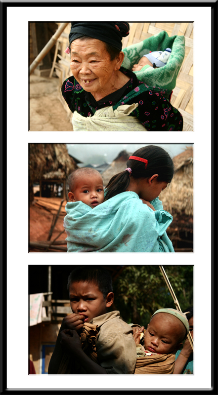 3 Enfants portés sur dos - Laos