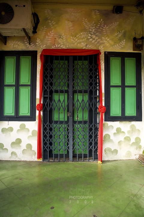 green door and windows