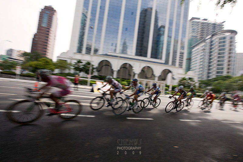 Whizzing past modern buildings