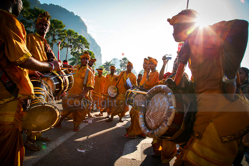 The urumi melam drums band accompany devotees on their walk