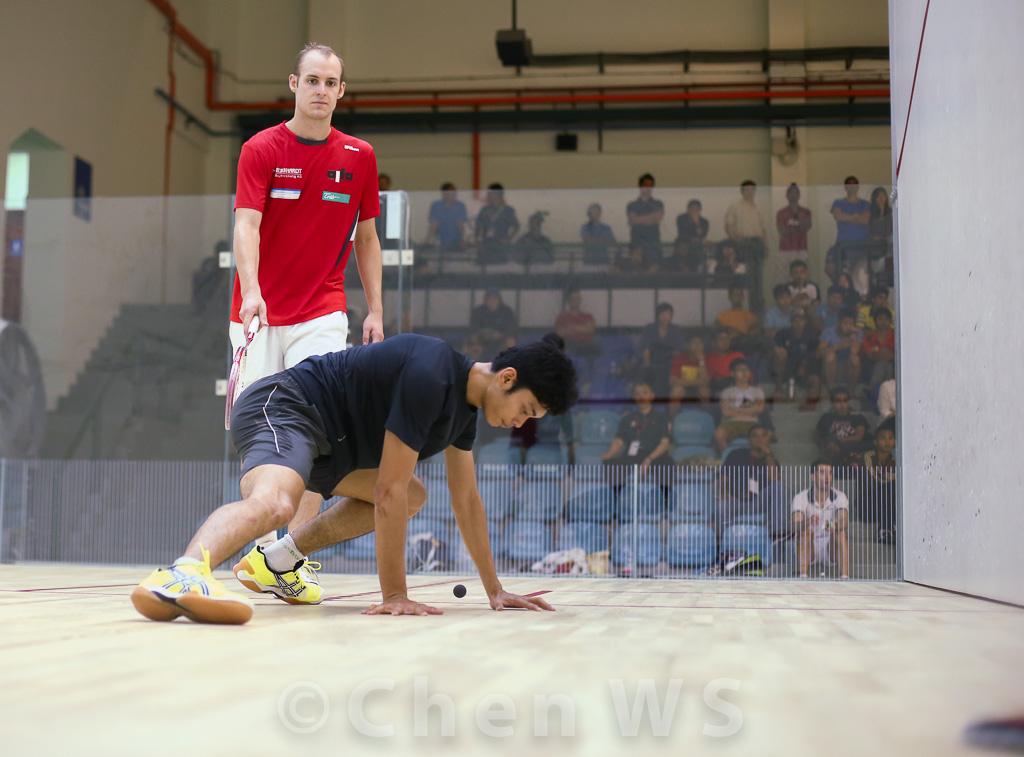M. Asyraf Azan (Malaysia) v Nicolas Mueller (Switzerland) red/white