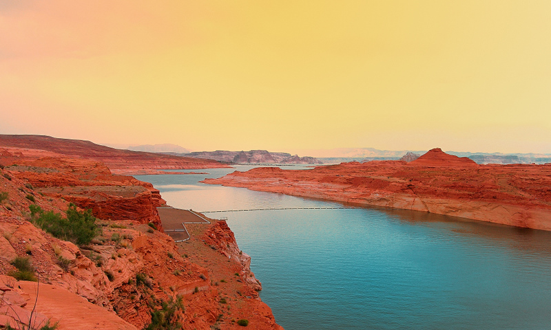 Yellow sandstorm, red rock and blue water @ Glen Canyon Dam, Lake Powell & Page, AZ