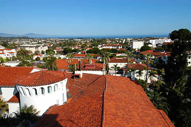 over the tile roofs