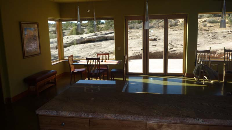 The dining area is to the left