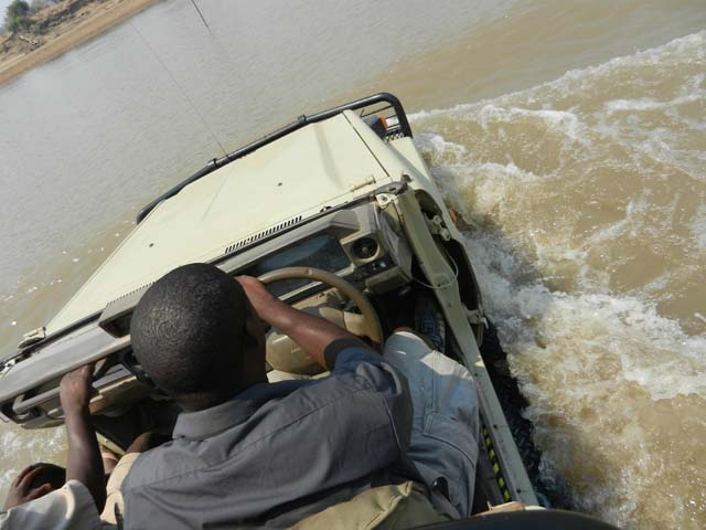 Crossing the Luangwa River to our next camp, Tena Tena
