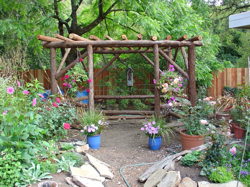 Beautiful Rustic Garden Gazebo From Redwood Posts