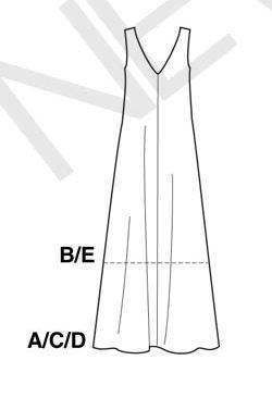 Back view showing V neck