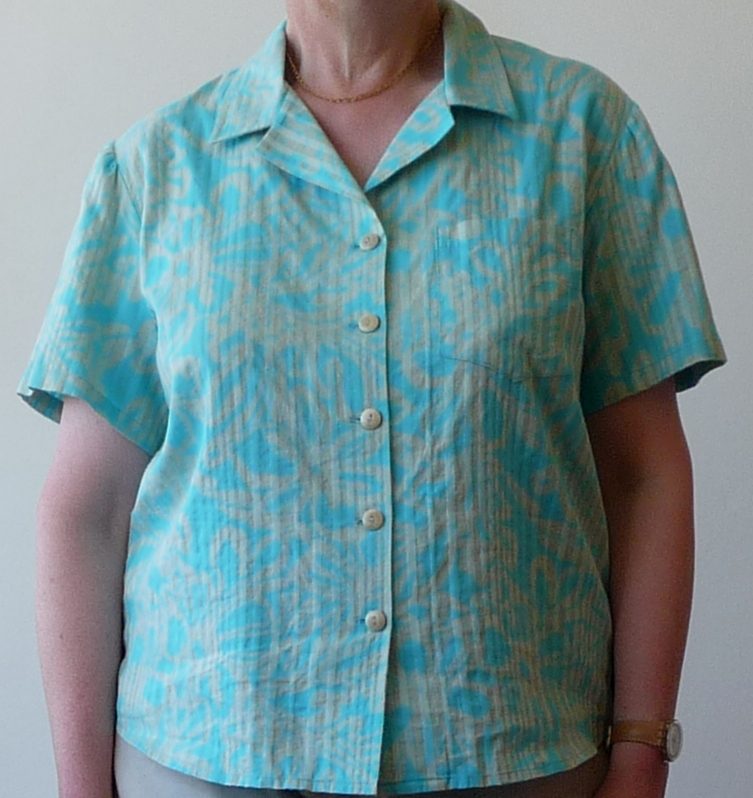 In a tropical print cotton from Clegs