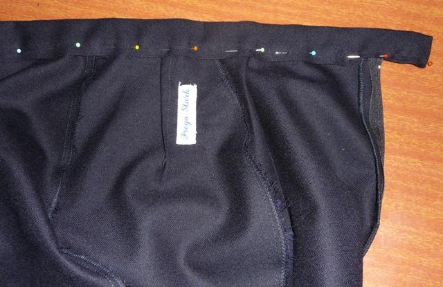 Inside waistband: using selvage as finished edge to reduce bulk
