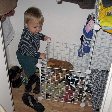 Simon investigates the closet