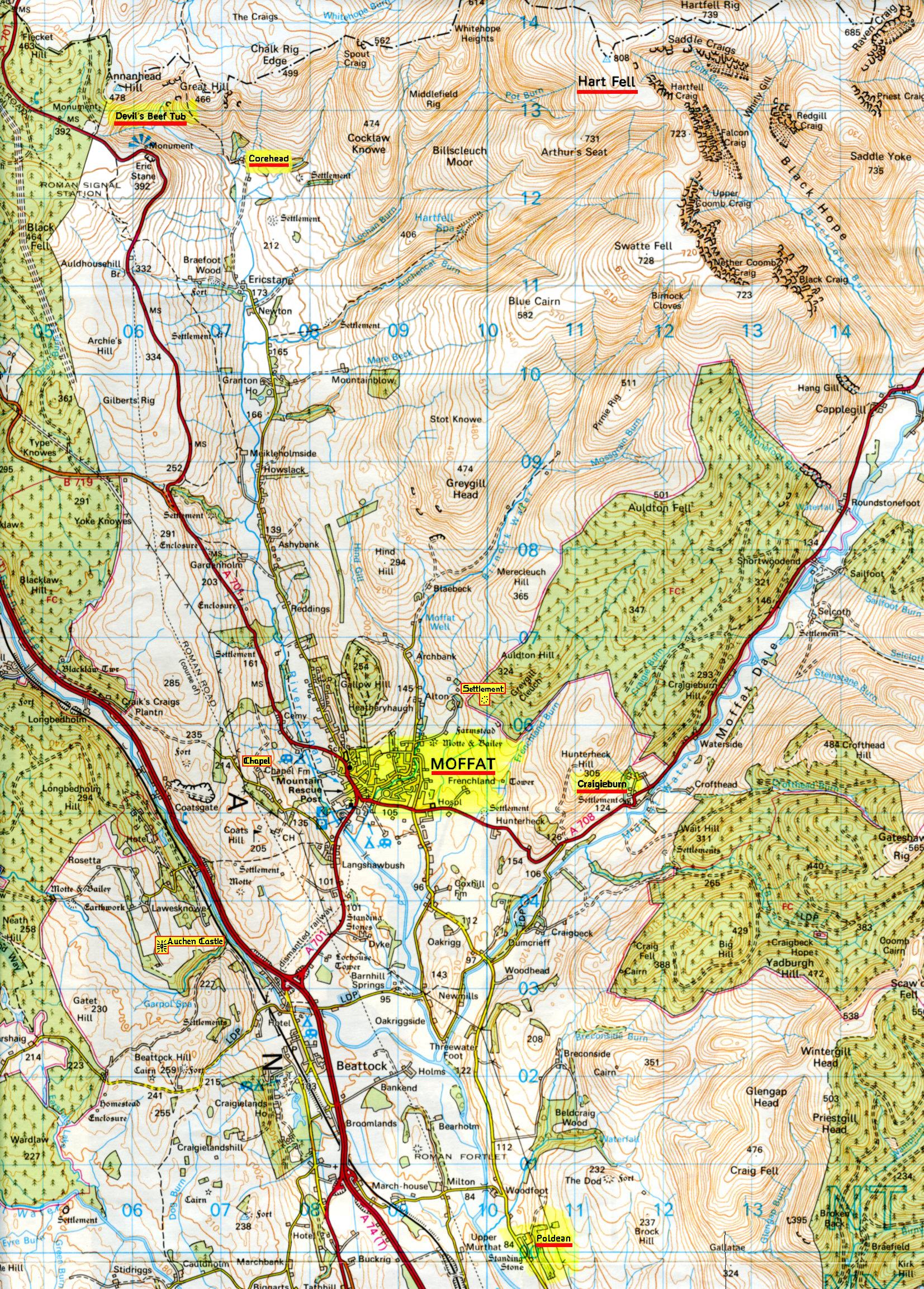 Map - Devils Beef Tub & Poldean