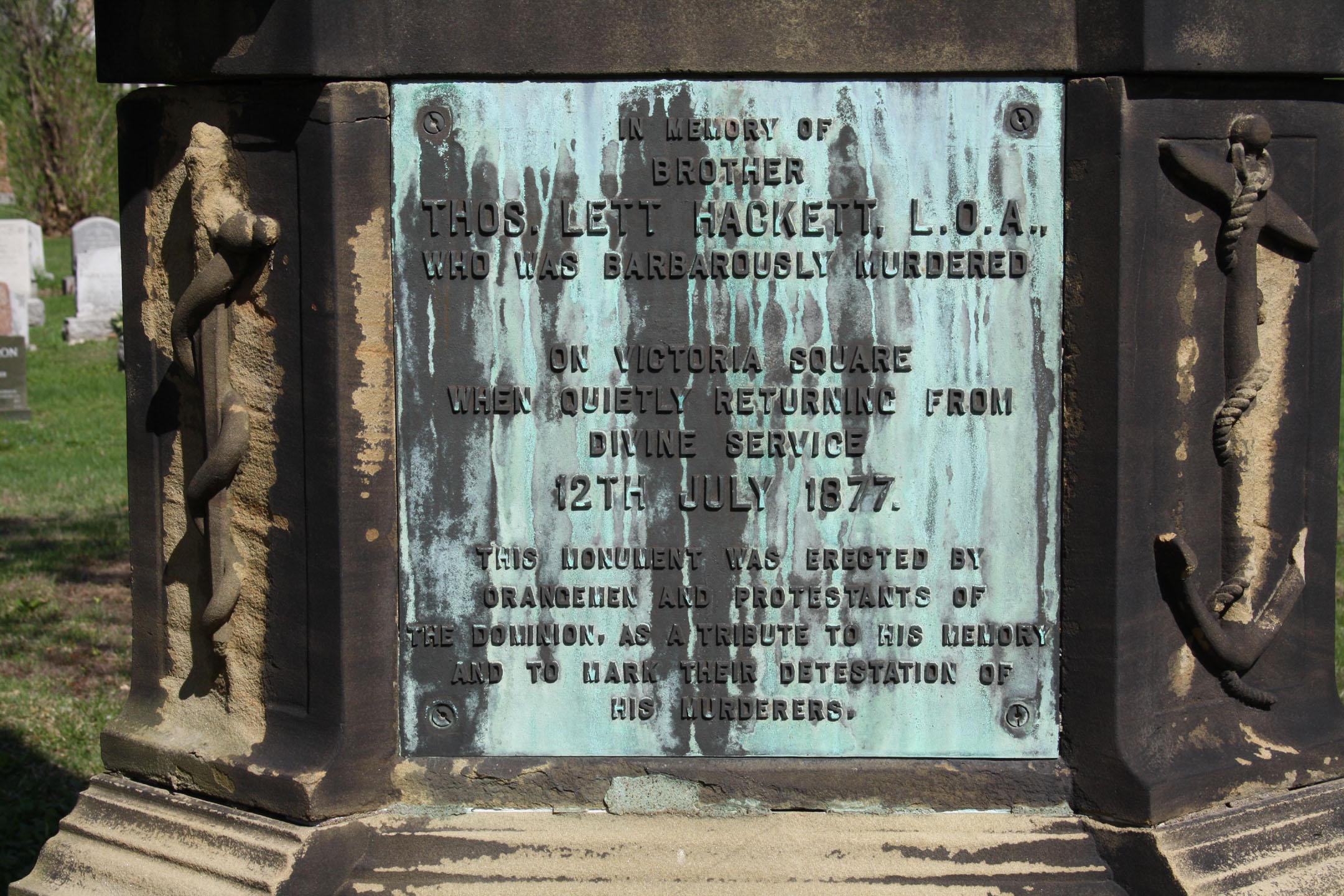 Thomas Lett Hackett Monument Inscription