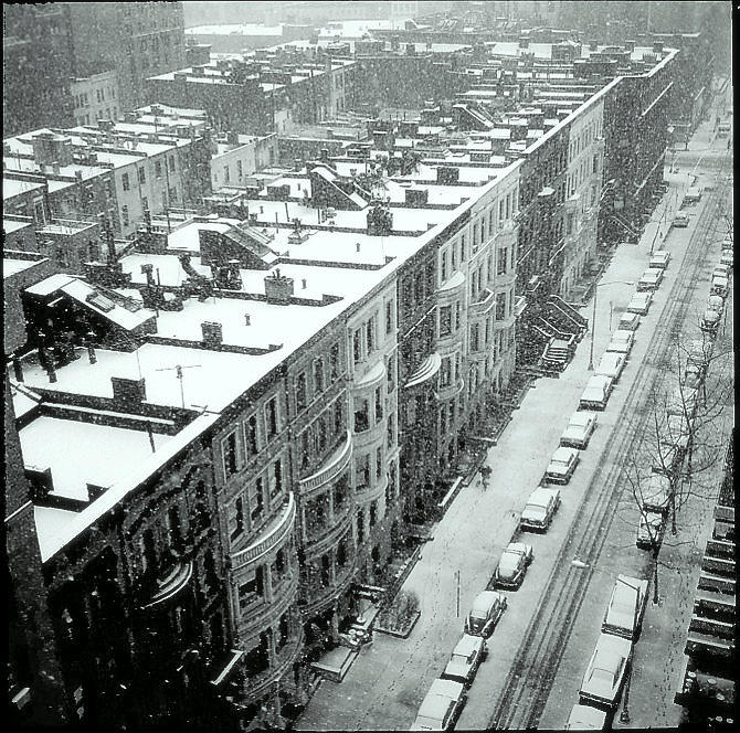 Snowing on W. 69th st. NYC 1969