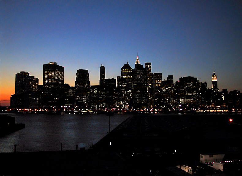 Skyline of lower Manhattan, dusk