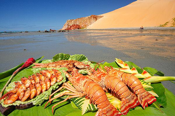 Lagosta, camarão e pargo assado na praia de Ponta Grossa, Icapuí_3941