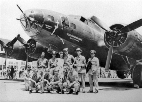 Margaret Polk and the crew of the Memphis Belle