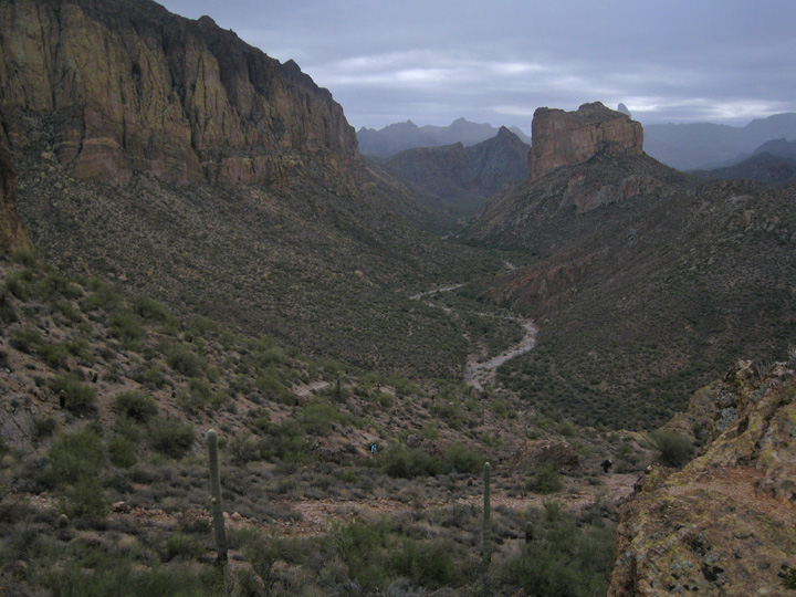 Geronimo Head on left, Battleship on right, La Barge canyon in between