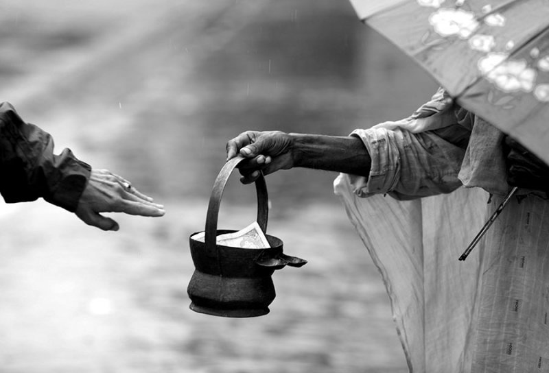Not all is begging. The giving of alms.