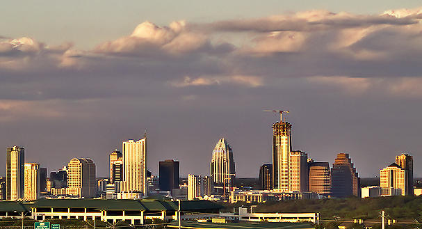 The Austin, TX skyline at  sunset from West of the City