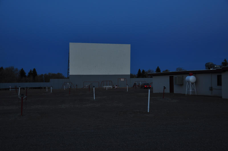 Screen #1 and parking lot at the Star Drive In.