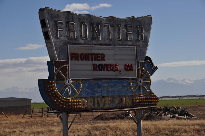 Frontier Drive In marquee.