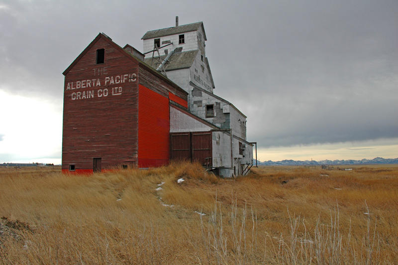 Raley, AB old grain elevator & the Canadian Rockies.