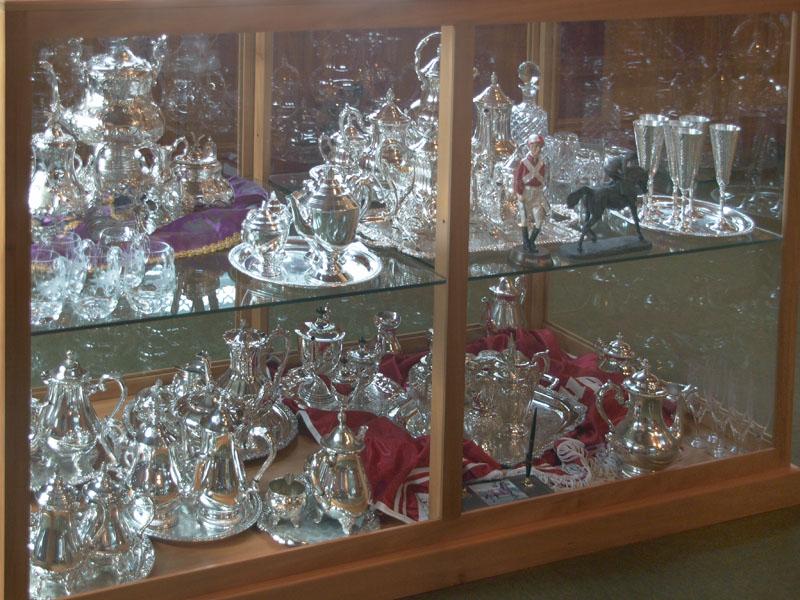 Silverware displayed