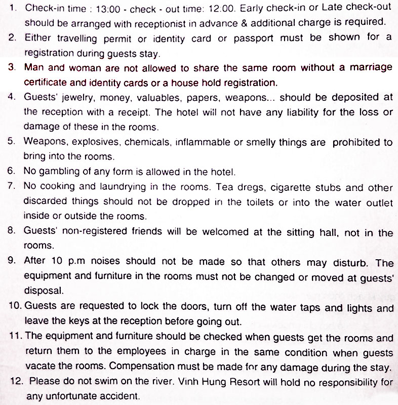 Vietnamese hotel regulations