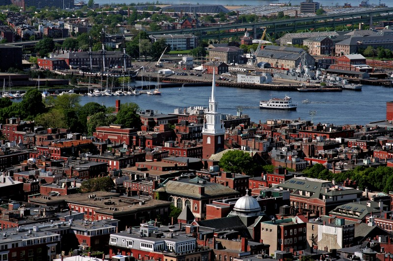 North End Rooftops with Old North Church and the USS Constitution