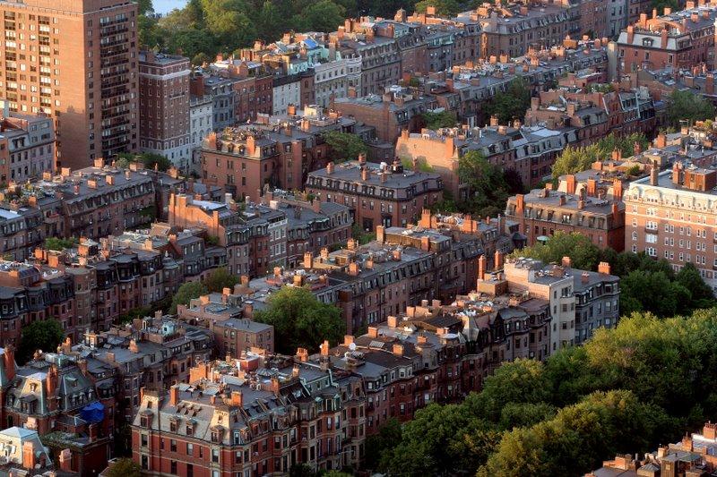 Aerial Photo of Back Bay Brownstones, Boston