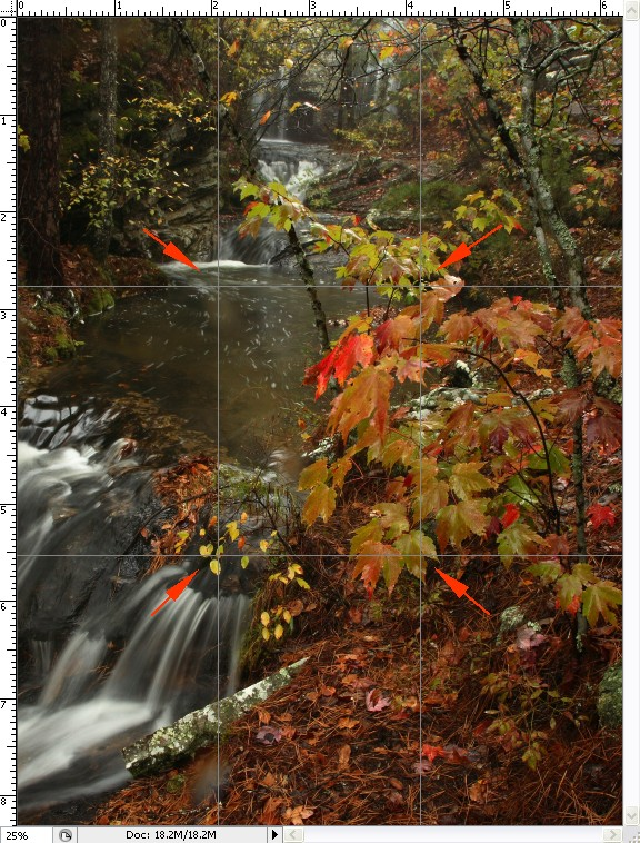 Landscape -- Waterfall and Rain During October Color