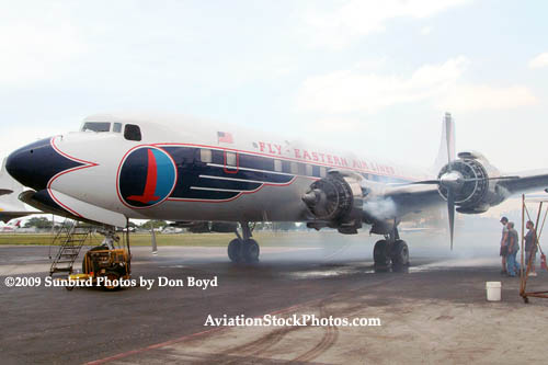 2009 - #2 engine of the Historical Flight Foundations DC-7B N836D running for the first time since 2004 stock photo #1937