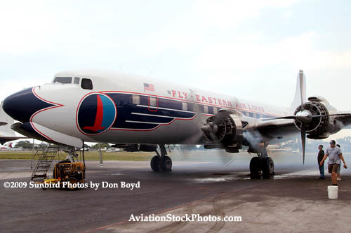 2009 - #2 engine of the Historical Flight Foundations DC-7B N836D running for the first time since 2004 stock photo #1938