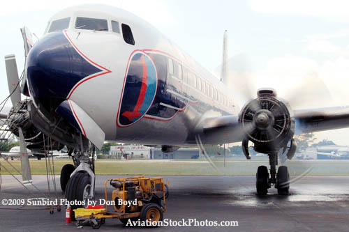 2009 - #2 engine of the Historical Flight Foundations DC-7B N836D running for the first time since 2004 stock photo #1940