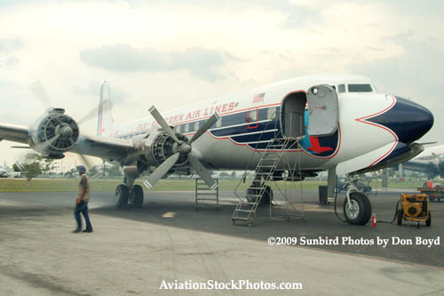 2009 - #4 engine of the Historical Flight Foundations DC-7B N836D running for the first time since 2004 stock photo #1943