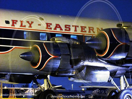 2010 - the Historical Flight Foundations restored Eastern Air Lines DC-7B N836D performing a night run up stock photo #1303