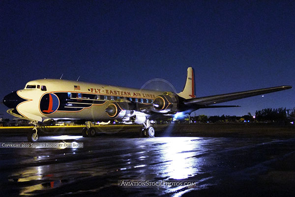 2010 - the Historical Flight Foundations restored Eastern Air Lines DC-7B N836D performing a night run up aviation stock #1311