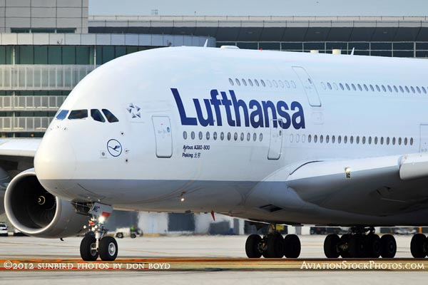 2012 - Lufthansa A380-841 D-AIMC Peking taxiing to runway 27 at MIA airline aviation stock photo