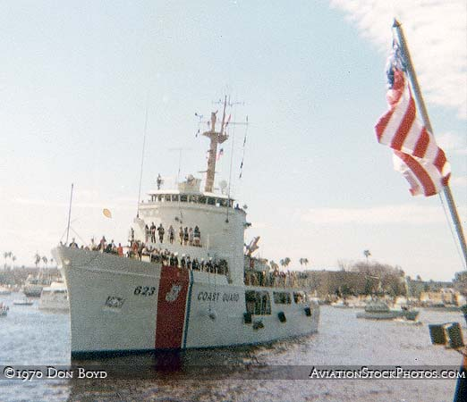 1970 - Rear Admiral O. R. Smeder, Commander Seventh Coast Guard District, arriving for Gasparilla on the USCGC STEADFAST