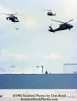 1992 - US Army helicopters landing at Eastern maintenance base during Hurricane Andrew relief operations
